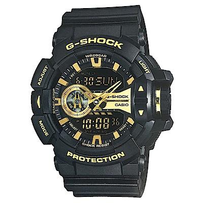 G-SHOCK街頭搖滾金屬風多層次雙顯運動錶(GA-400GB-1A9)金面51.9mm
