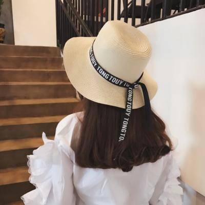 梨花HaNA 今夏最IN潮流IG女孩字母緞帶草帽-速