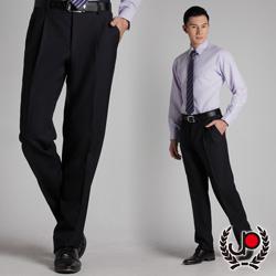 極品西服-正式簡約‧混紡羊毛雙褶西裝褲_丈青藍條(BS316-2)