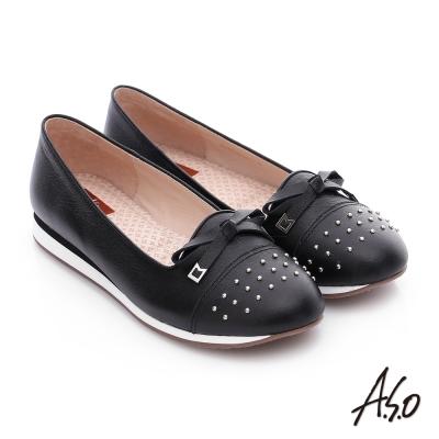 A.S.O 樂福氣墊 真皮鉚釘蝴蝶結奈米氣墊鞋 黑