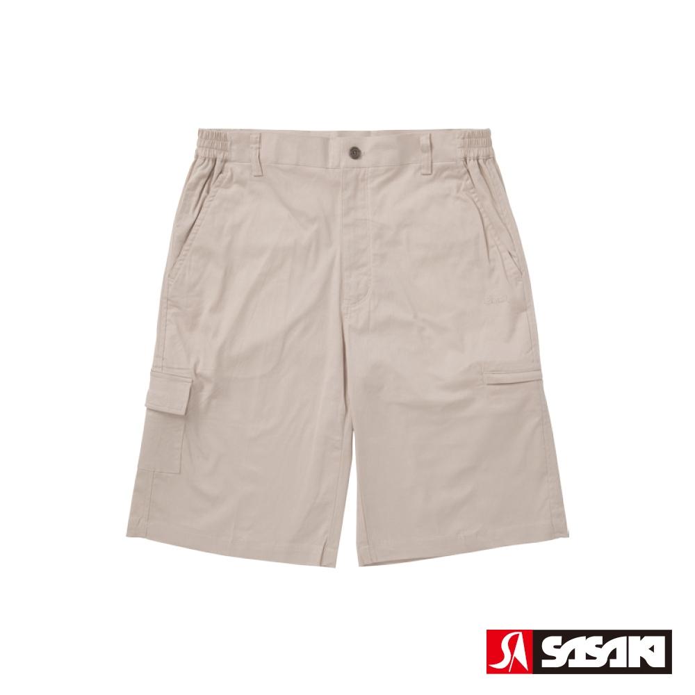 SASAKI 棉質伸縮多口袋休閒五分褲-男-卡其