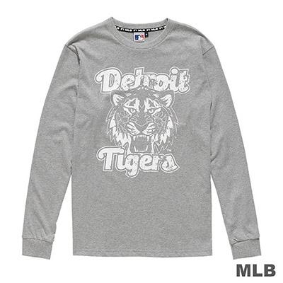 MLB-底特律老虎隊仿舊風印花長袖T恤-麻灰 (男)