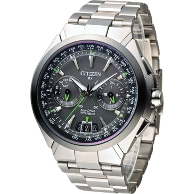 CITIZEN 王者旗艦衛星對時鈦金屬腕錶(CC1086-50E)-灰面/48mm