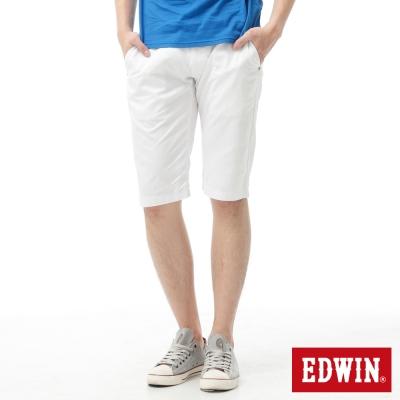 EDWIN-503-KHAKI-3D剪裁素面休閒短褲-男款-白色