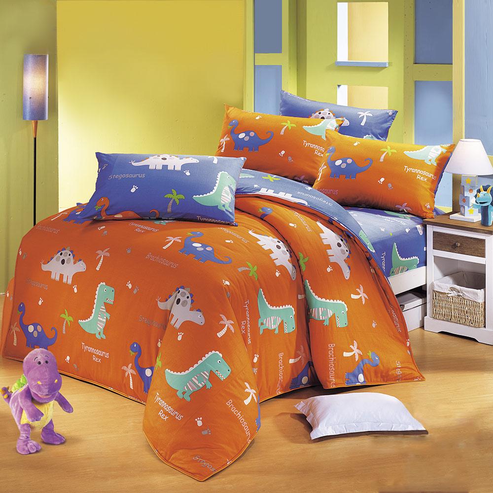 鴻宇HongYew 100%美國棉 防蹣抗菌-恐龍公園 雙人床包枕套三件組