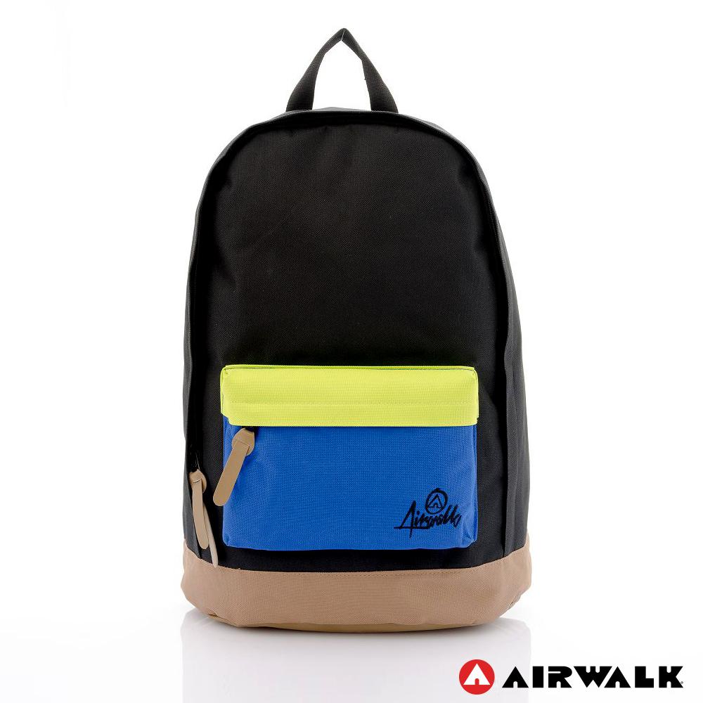 AIRWALK - 書卷系 撞色筆電後背包 - 黑綠藍