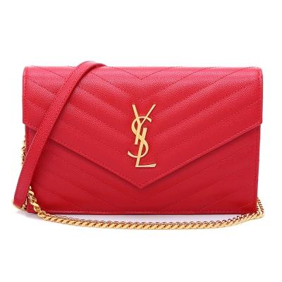 YSL V字縫線斜紋牛皮金屬LOGO金鍊斜肩/手拿包(紅色/小)