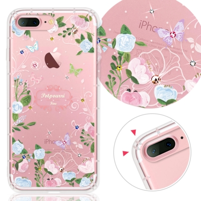 YOURS APPLE IPhone7 Plus奧地利水晶彩繪防摔氣墊手機鑽殼-花敘
