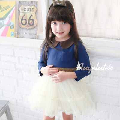 baby童衣-甜美可愛的圓領腰封紗裙-長袖洋裝-37198