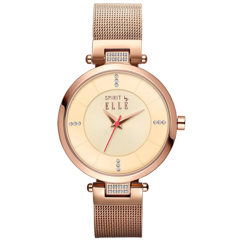 ELLE  精緻典華時尚水鑽腕錶-ES21006B04X/33mm