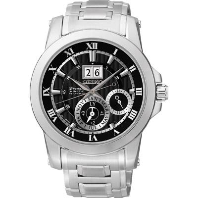 SEIKO PREMIER 人動電能萬年曆腕錶-黑/41mm 7D56-0AB0D(SNP093J1)