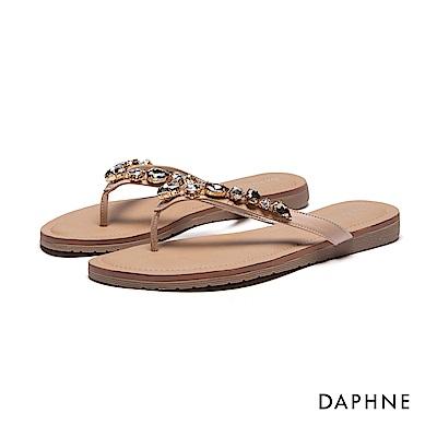 達芙妮DAPHNE 拖鞋-寶石鑽飾夾腳拖鞋-杏