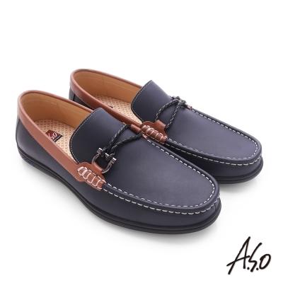 A.S.O 3D超動能 苯染牛皮直套式低筒帆船鞋 深藍色