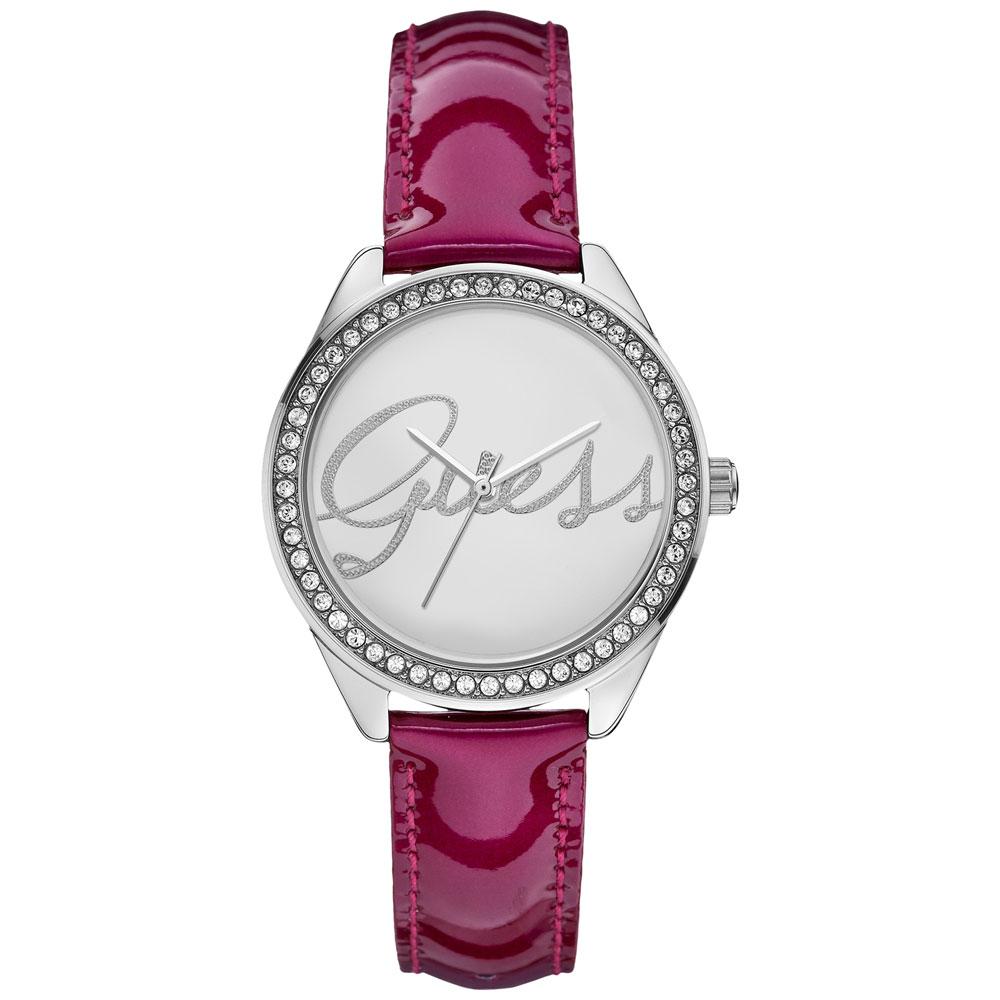 GUESS 繽紛漾彩晶鑽時尚腕錶-銀x紫紅錶帶/36mm