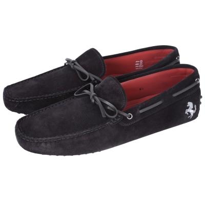 TOD'S FOR FERRARI GOMMINO 麂皮豆豆休閒鞋(黑色)