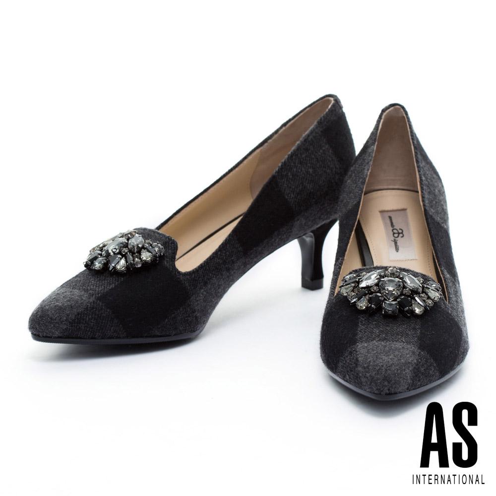 高跟鞋 AS 華麗鑽飾格紋毛呢尖頭樂福高跟鞋-黑