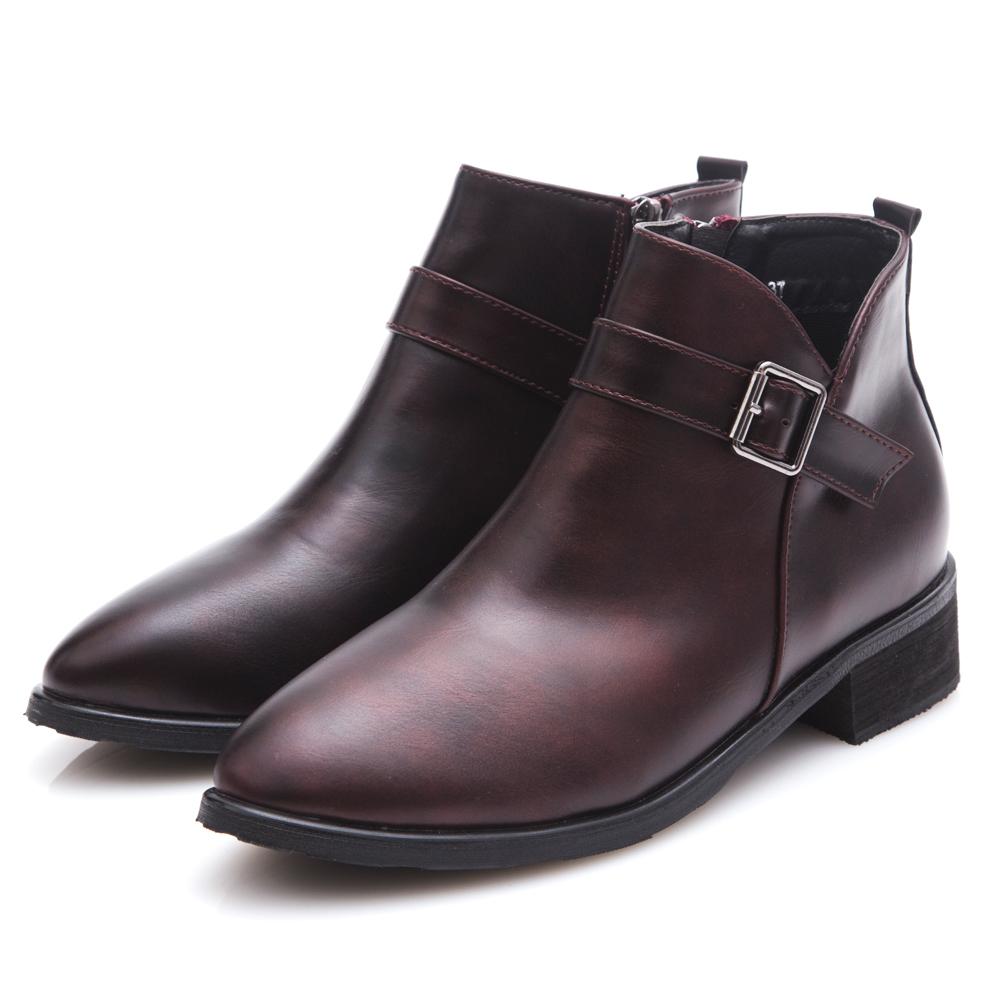 G.Ms. 金屬仿舊擦色皮帶釦短靴-紅色