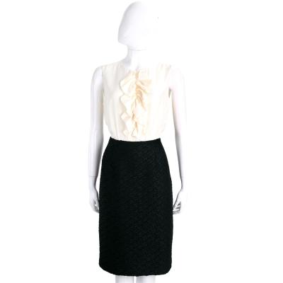 Max Mara 米白x黑色荷葉設計拼接絲質無袖洋裝