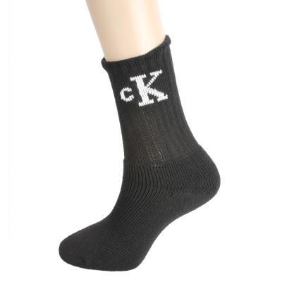 Calvin Klein CK直筒束口LOGO厚底紳士襪-黑色