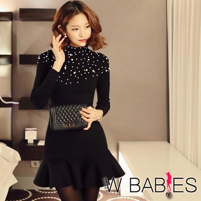 珍珠點綴荷葉擺針織洋裝 (黑色)-W BABIES