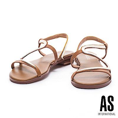 涼鞋 AS 盛夏奢華金屬S字異材質拼接低跟涼鞋-咖