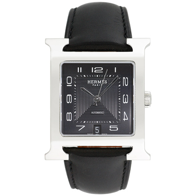 HERMES愛馬仕 H-OUR 超大H型黑面腕錶-搭配原廠黑色錶帶/32x42mm