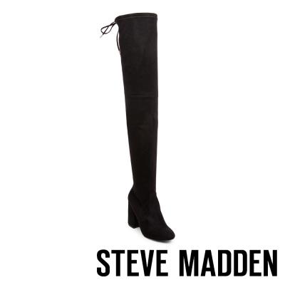 STEVE MADDEN-NORRI 過膝長筒後綁帶粗跟套靴-黑色
