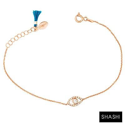 SHASHI 紐約品牌 Evil Eye 鑲鑽智慧之眼玫瑰金手鍊 925純銀鍍18K玫瑰金
