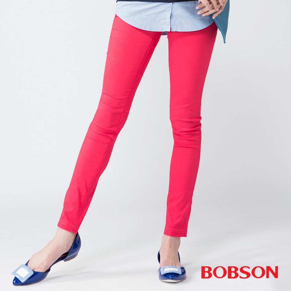 BOBSON 女款亮光紗大彈力緊身褲(紅13)