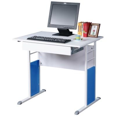 Homelike 巧思辦公桌 亮白系列-白色仿馬鞍皮80cm(附抽屜)