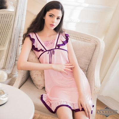 大尺碼Annabery粉紫雙色小蓋袖柔緞性感睡衣 粉紫 L-2L Annabery