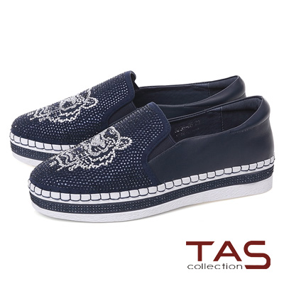 TAS 獅子造型水鑽質感休閒鞋-海軍藍