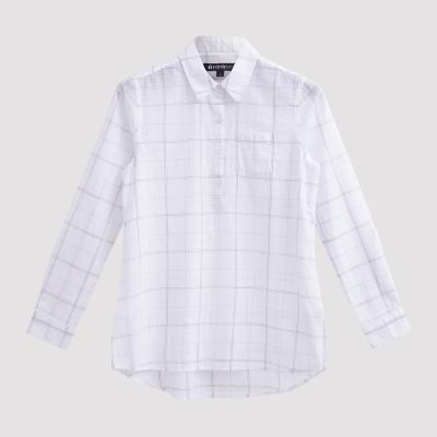 Hang Ten - 女裝 - 都會時尚格線襯衫 - 白