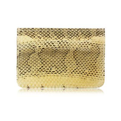 ACUBY 限量單品手工蟒蛇皮多用途卡片夾/奶油黃