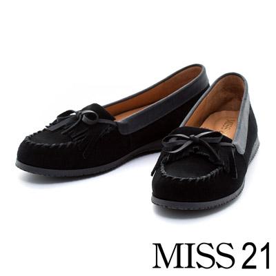 MISS-21-流蘇柔軟牛麂皮內增高莫卡辛鞋-黑