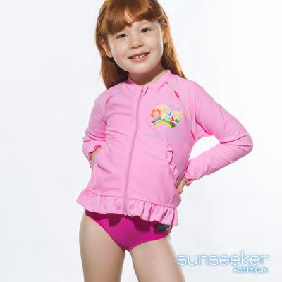 澳洲Sunseeker泳裝小女童抗UV防曬長袖外套泳衣-粉色