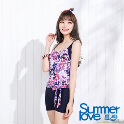 夏之戀SUMMERLOVE 比基尼泳裝 連身四角 紫色花朵背心式泳裝