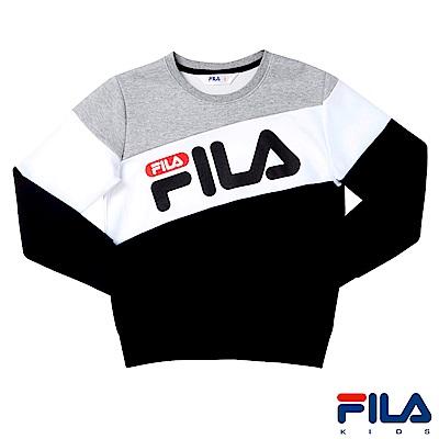FILA KIDS #東京企劃 長袖圓領T恤-黑1TES-4450-BK