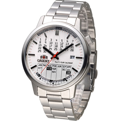 ORIENT 東方錶 多功能萬年曆機械腕錶-白/42mm