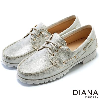 DIANA 超軟Q--復古雙色質感平底休閒鞋-銀