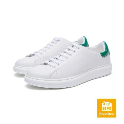 鞋櫃ShoeBox-男鞋-休閒鞋-後跟撞色素面綁帶休閒鞋-綠
