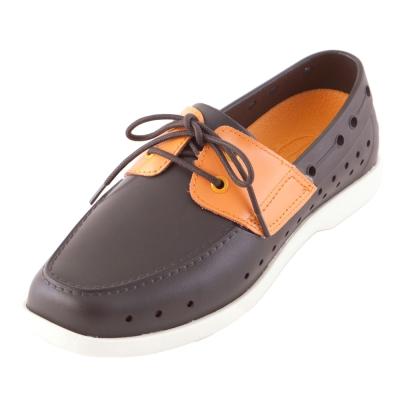 (男/女)Ponic&Co美國加州環保防水洞洞綁帶帆船鞋-深咖啡色