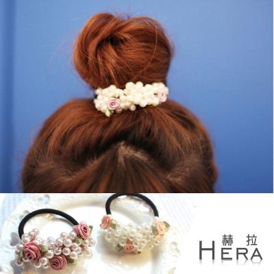 Hera  手工珍珠串珠小玫瑰髮圈/髮束-(兩色)