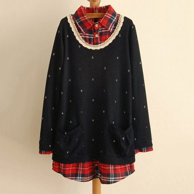LOVE20首爾館-現貨-假兩件蕾絲領格紋休閒衫-藏青