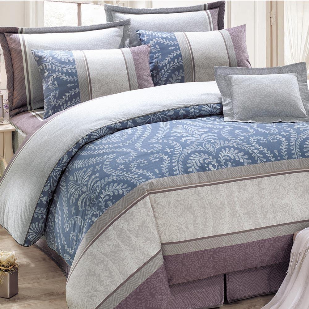 鴻宇HongYew 100%精梳棉 媞娜花園 藍 雙人加大七件式兩用被床罩組