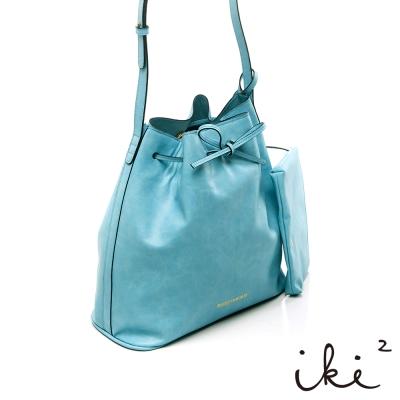 iki2時尚包-發現寶石-公主綁帶水桶包-藍色拓帕