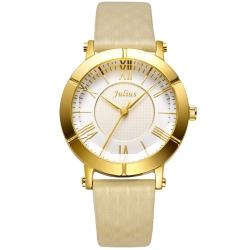JULIUS 聚利時 華麗冒險立體鏡面設計腕錶-杏色/33mm