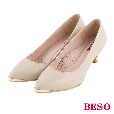 BESO 簡約知性 金屬尖頭全真皮跟鞋~米