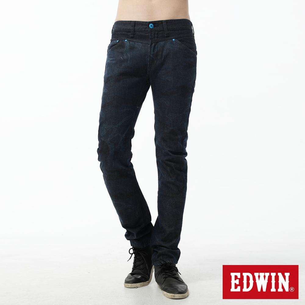 EDWIN 中直筒 EF迷彩3D牛仔褲-男-原藍色