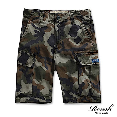 ROUSH (迷彩) 菱格車法高磅數多口袋水洗短褲 (3色)